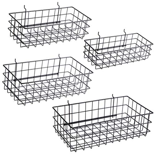 Pegboard Baskets, Set of 4 Black - Hooks to Any Peg Board - Square Style Wire Shelf Baskets - Organize Tools, Workbench, Accessories, Garage Storage - Wall Organizer Attachments