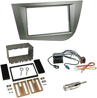 Einbauset : Autoradio Doppel 2 DIN Blende Radioblende grau / anthrazit + Quadlock   ISO Radio Adapter Adapterkabel mit Fakra Phantomseinspeisung + Antennenadapter für Seat Leon (1P/1PN) 09/2005   2010