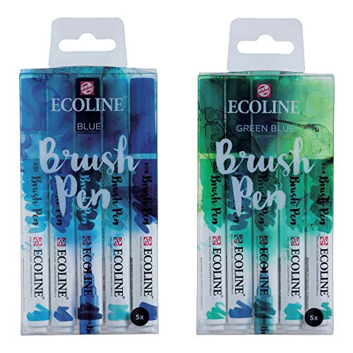 Ecoline Liquid Watercolor Brush Pens, 10 Total Markers– Blue and Green Blue Sets (11509905 + 11509909)