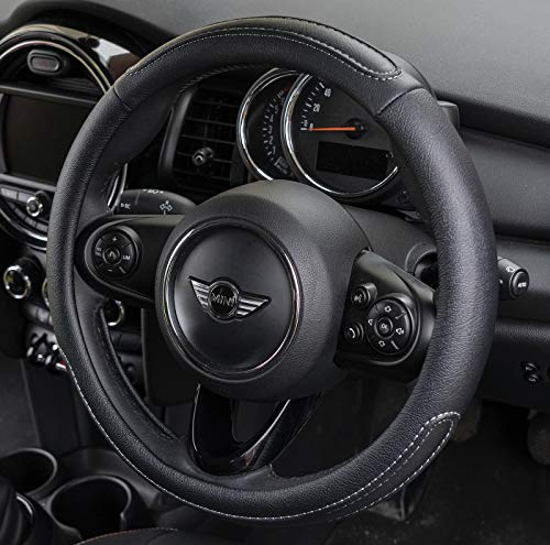black-coffee Thick Comfort Durable Pahajim Car Soft Leather Steering Wheel Covers Universal 15 inch Breathable Anti-slip Wheel Sleeve Protector Sporty Curves