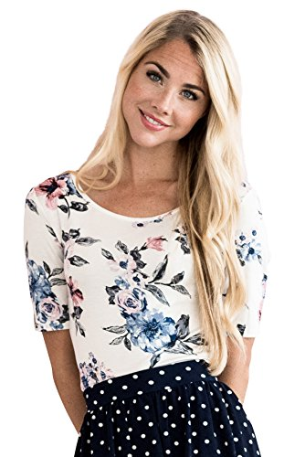 Mikarose Modest Scoop Neck Top In White & Blue Floral
