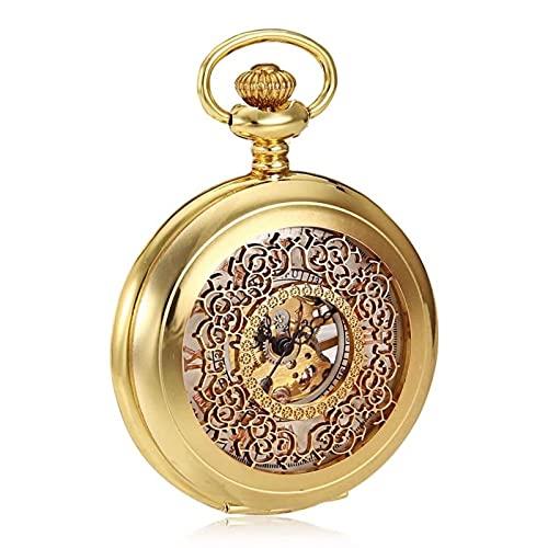 HHTD Reloj de Bolsillo Creativo Retro mecánico Bolsillo Reloj Oro Hueco dial Romano Word White Flip Bolsillo Regalo para el Dia de Aniversario de cumpleaños