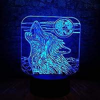 新しい満月の夜の遠吠えの狼3DランプはUSBタッチテーブルナイトライト多色溶岩RGB照明発光クリスマスギフトを導きました
