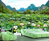 Papel tapiz panorámico 3D Lotus Landscape Lotus Pond Tapiz Murales de pared Papel tapiz Dormitorio Sala de estar Decoratio Papel tapiz 3D PastaTV papel de decoración de pared Mural-300x210 cm