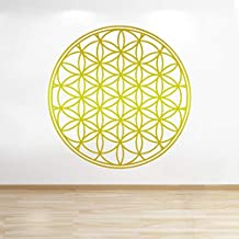 Personalized Gift Co Flower of Life Decal, Boho Decals, Vinyl Mandala Decal, Flower of Life Sticker, Mandala Decal, Seed of Life, Wall Decals, Geometric (60in, Gold)