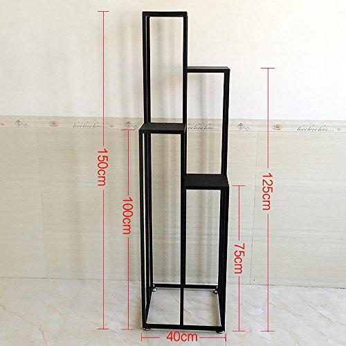 LLLXUHA Art de fer Multi-couche Support de fleurs, Multifonction Type de plancher Écran Présentoir, Balcon Étagère, Intérieur Cadre décoratif , Black , 40*40*150cm