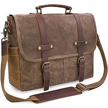 Mens Messenger Bag 15.6 Inch Waterproof Vintage Genuine Leather Waxed Canvas Briefcase Large Satchel Shoulder Bag Rugged Leather Computer Laptop Bag Brown