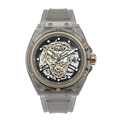 Police Watches Translucent Herren Uhr analog Automatik mit Silikon Armband PL.15924JPB-02PA