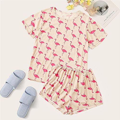 LSJSN Schlafanzug Tier Flamingo Print Pyjama Set Sommer Casual Pyjama Für Frauen Frühling Damen Kurzarm Mode Loungewear-M