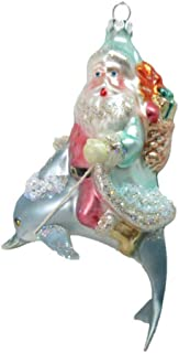 December Diamonds Santa on Dolphin Bearing Gifts Holiday Ornament Glass