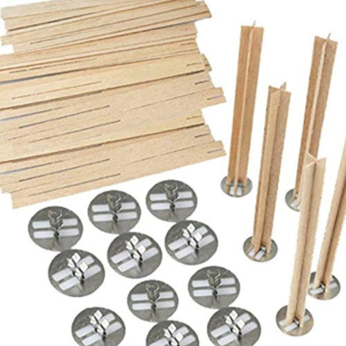 Cross Wooden Candle Wicks Natural Candle Cores 20 Pcs With Metal Base for DIY Candle Making Craft