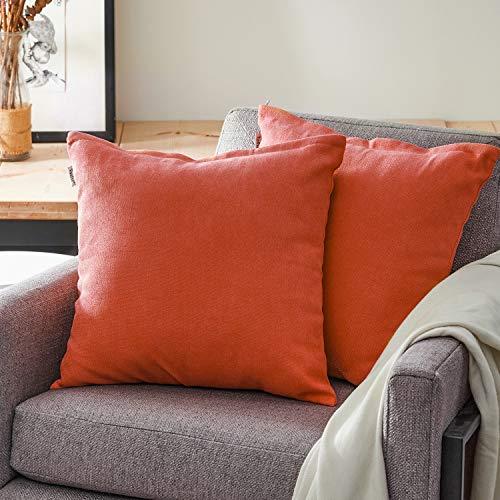 Topfinel クッションカバー リネンっぽい 45×45cm 北欧 おしゃれ 綿麻 無地 ソファ背当て 装飾枕カバー 座布団カバー オレンジ 2枚セット(全18色)