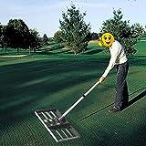 YONIISEA Rasenrakel Edelstahl, Golf Garden Grass Level Rasenniveau Rake Rasen Leveler Boden Lawn Leveling Rake Mit 43-Zoll-Griff, Rasen-Push-Levelawn Für Haus Garten Yard Golf Dirt Sand Top Dressing