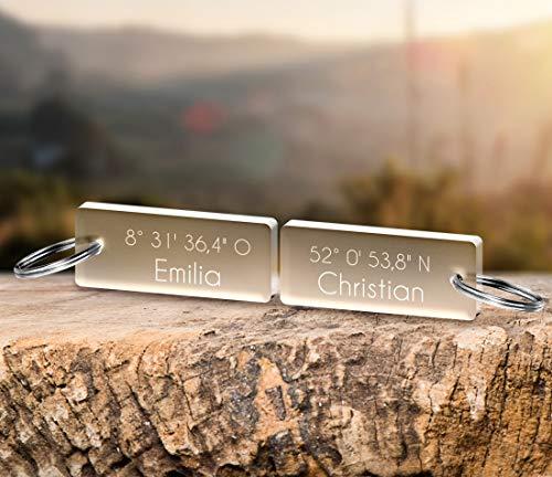 CHRISCK design 2 Schlüsselanhänger Paar mit Wunschgravur Spruch Sprüche Gravur Liebes Geschenk zu Valentinstag Geschwister für Paare, Freunde Beste Freundinnen Vatertagsgeschenk