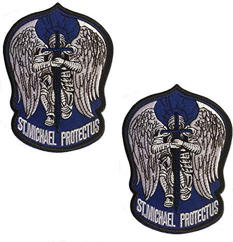 Parche bordado de San Miguel para el operador del ejército militar con cierre de gancho y bucle en la parte trasera de 3.54 x 4.72 pulgadas azul oscuro