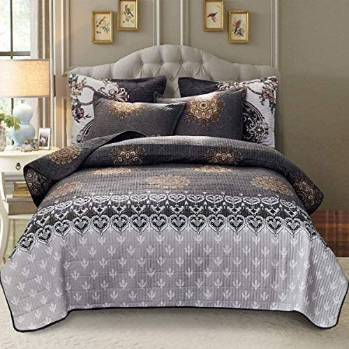 ATsense Printed Quilt Set King 104 W 90 L Grey Medallion 3 Piece Bedspread Lightweight Microfiber product image