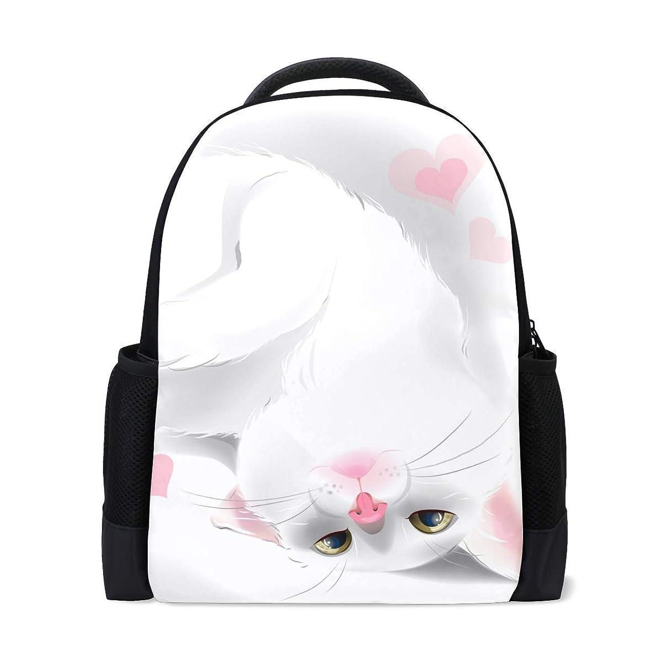 ミュートアロングこんにちはVAMIX バッグ リュック サック 男女兼用 メンズ レディース 通勤 通学 大容量 ギフト プレゼント 猫柄 可愛い猫 白猫