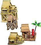 LXNQG Decoración de paisajismo del Tanque de Peces - Cerámica de bambú Casa Bonsai Adornos - para Adornos de Acuario de Tanques Marinos, Conjunto de 4 Piezas