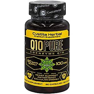 immagine di Q10 Pure   Coenzima Q10   80 capsule vegetariane x 100 mg (fornitura per 80 giorni)   Alto assorbimento   Alta resistenza   Potente antiossidante e produzione di energia   di Cvetita Herbal