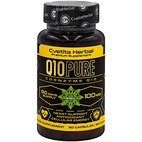 Q10 Pure | CoEnzyme Q10 | 80 Vegetarian Capsules x 100 mg (80 Days Supply) | High Absorption | High Strength | Powerful Antioxidant and Energy Production | by Cvetita Herbal (1)