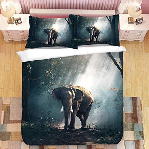 Fundas Nórdicas 3D Elefante Animal Del Bosque 3D/150X200cm 3 Piezas Funda De Edredón De Microfibra Suave Transpirable Incluye 1 Funda Nórdica Y 2 Funda De Almohada Para Adolescentes Niñas Regalo