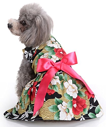 MaruPet Floral Dog Harness Dress Pet Clothes D-Ring Vest Shirts Sundress for Small, Extra Small Dog Teddy, Pug, Chihuahua, Shih Tzu, Yorkshire Terriers I-Floral S