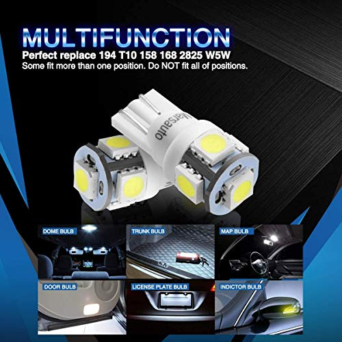 Marsauto 194 LED Light Bulb 6000K 168 T10 2825 5SMD LED Replacement Bulbs for Car Dome Map Door Courtesy License Plate Lights (Pack of 10)