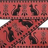 IBA Indianbeautifulart Naranja Raya y Gato Egipcio Animal Cinta de Cinta de Cinta de Tela de Cordones para Manualidades de Terciopelo Impreso Accesorios de Costura de 9 Yardas 2 Pulgadas