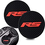WOSITE 2Pack RS - Racing Sport Logo Universal Vehicle Cup Holder Insert Coaster - 2.75 inch Silicone Anti Car Coaster for Men Women Car Interior Decoration Accessories (RS Red)
