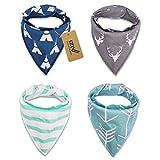 iZiv Baberos del Bebé - Paquete de 4 Diseños Pañuelo con Snaps Ajustables,...