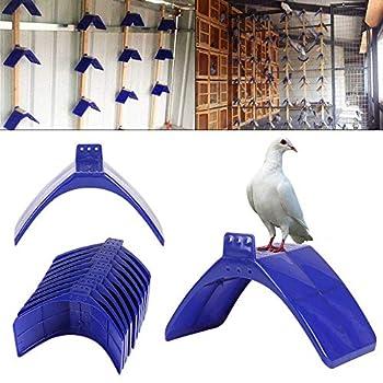 JueYan Lot de 20 Supports pour Pigeons en Plastique en Forme de V Bleu,Lot de 20 Supports de Repose-Colombe en Plastique pour Support de Grille d'habitation, perchoirs et Oiseaux Bleu
