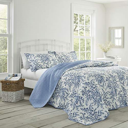 Laura Ashley Home Bedford Blue Quilt Set, Full/Queen Classic Floral Sheet Set