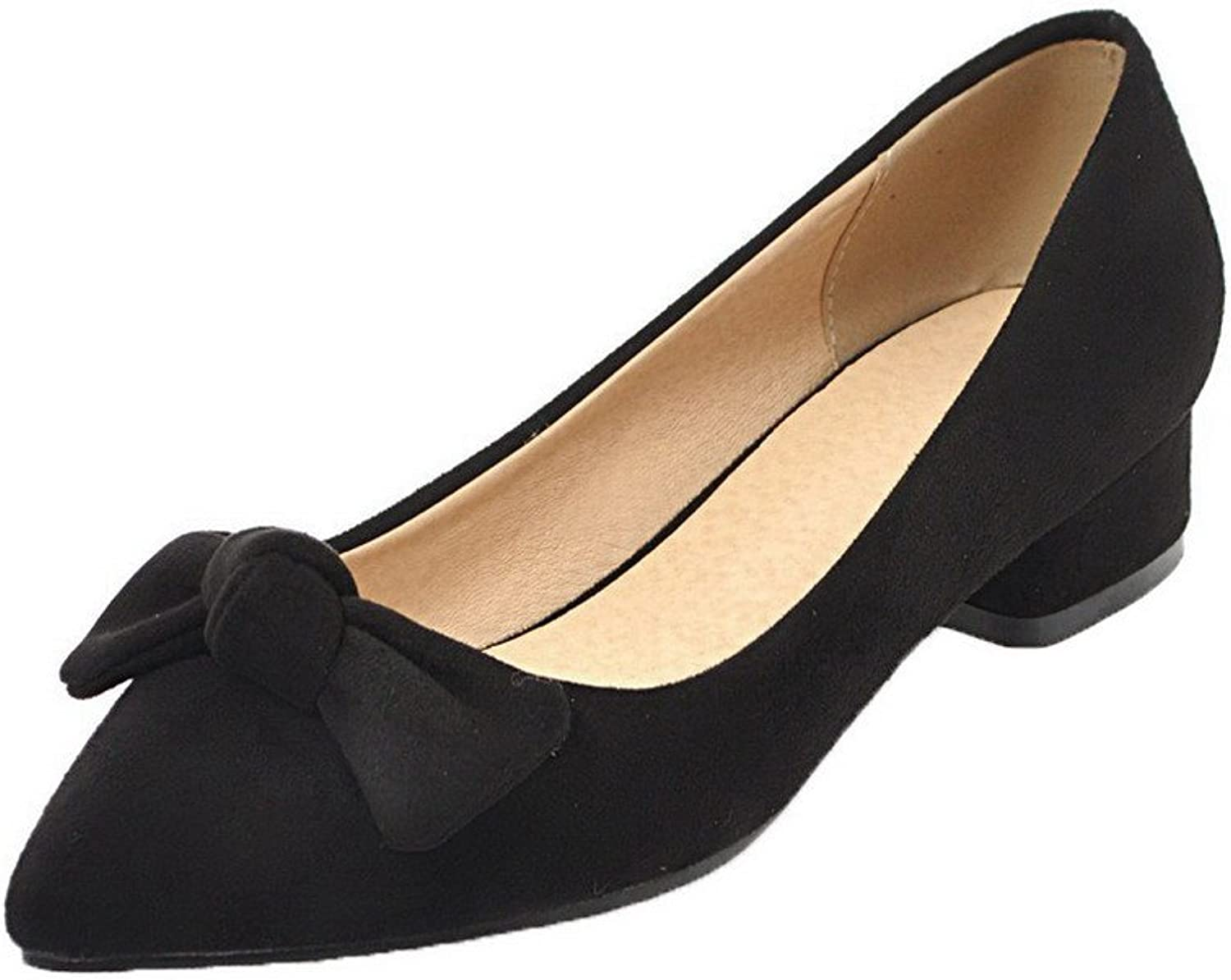 WeenFashion Women's Pull-On Closed-Toe Low-Heels Frosted Solid Pumps-shoes