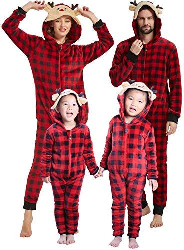 Family Matching Christmas Pajamas Set Sleepwear Soft Fleece Reindeer Printed Onesie For Kids and Adults (Black and Red Plaid Kid's Fleece, 8)