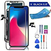 for iPhone X Screen Replacement OLED 5.8 inch with 3D Touch Display Digitizer Repair Kit Assembly with Complete Repair Tools and Screen Protector