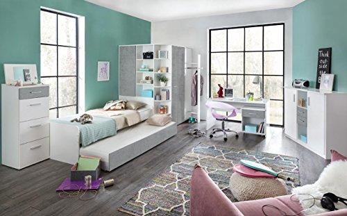 lifestyle4living Jugendzimmer, Jugendmöbel, Teenagerzimmer, Kinderzimmer, Junge, Mädchen, komplett-Set, weiß, Betonoptik 5-TLG.