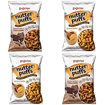 PopChips Nutter Puffs Snack Four Pack 4 Oz Bags! 2 Peanut Butter + 2 Peanut Butter & Chocolate! Tasty Sample Variety Chips Set!