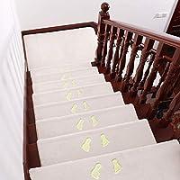 5pcs階段パッドステップカーペット階段トレッド用滑り止め接着ラグ/マット、屋内木製ステップ用自己接着階段トレッドカーペット、明るい足のパターンを持つ階段用の取り外し可能な洗えるステップフロアラグ
