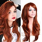 TopWigy Fox Red Long Curly Hair Wig, Heat Resistant Synthetic Big Wave Fiber Natrual Wigs for Woman Party Costume Cosplay Daily Use (Fox Red, 28')
