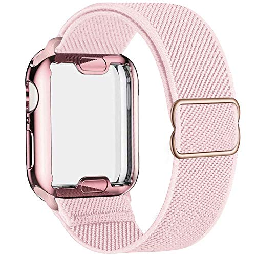 ADWLOF Stretchy Solo Loop with Screen Protector Case Compatible with Apple Watch Bands 44mm,Adjustable Braided Sport Nylon Elastics Men Women Compatible with iWatch Series 6/5/4/3/2/1,SE,Pink Sand
