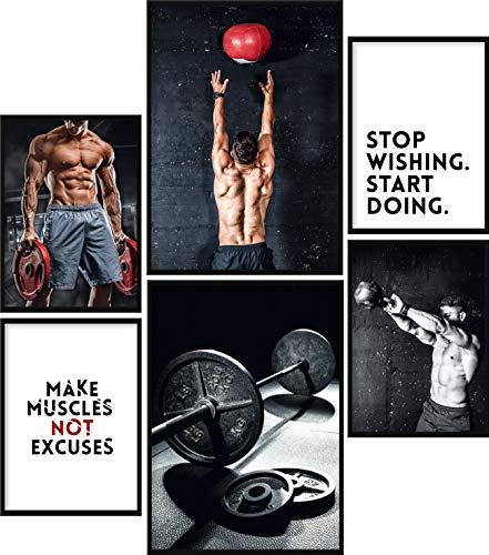 Calias® Premium Poster Set Fitness   Bilder Set für Wohnzimmer Deko oder Schlafzimmer Deko   Stilvolle Wanddeko   6er Set ohne Rahmen   2X DIN A3 und 4X DIN A4