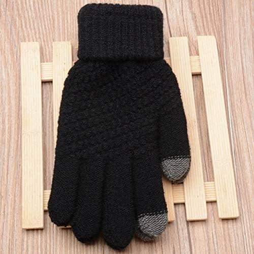 Hot Winter Screen Gloves Warm Stretch Knit Mittens Imitation Wool Full Finger Guantes Female Crochet Thicken Women Men - (Color: Black)