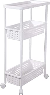 Kitchen Storage Trolley, 4-Tier Plastic Slide Out Removable Storage Tower, with Baskets Handles Wheels, for Bedroom Bathro...