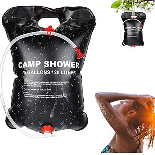 SunAurora Solardusche Campingdusche, 20L Mobile Solar Dusche Tasche, Tragbare Solar-Wassersack mit Duschkopf & On-Off Switchable, für Camping/Wandern/Garten