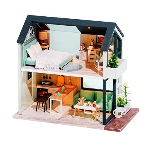 Kit de casa de muñecas, en miniatura, de madera, hecho a mano, con muebles, para regalo de Navidad, cumpleaños, San Valentín
