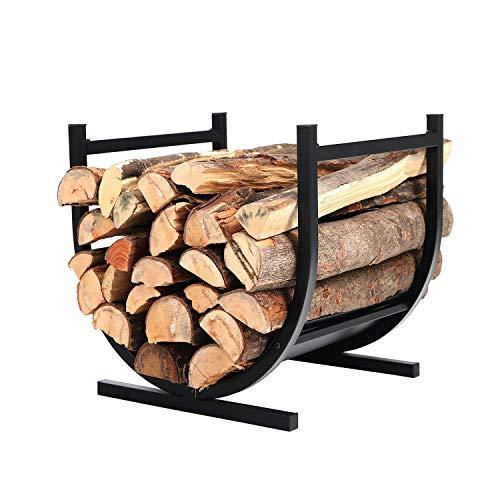 PHI VILLA 17 Inches Small Decorative Indoor/Outdoor Firewood Log Rack Bin with Scrolls, Black