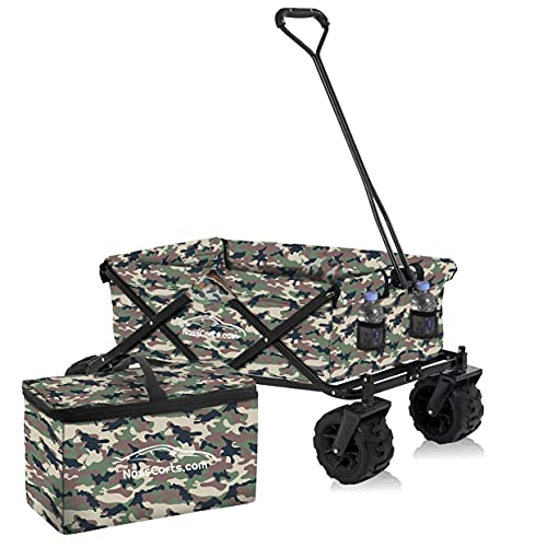Nasscarts, Foldable Beach Cart with Bonus Cooler Bag - Off-Road Wagon, Multi-Terrain Trolley, Collapsible, Folding Handcart - Great for Shopping, Gardening, Camping, Fishing - 80 kg Loading Capacity
