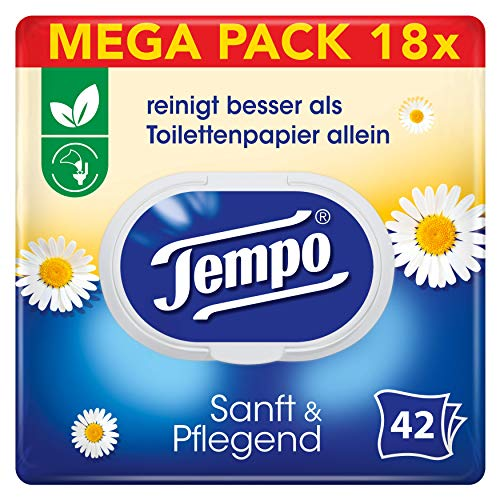 Tempo Toilettenpapier feucht Tempo Sanft Pflegend Trio-Pack (18 (6 x 3) Packungen x je 42 Blatt), Großpackung, 1 kg