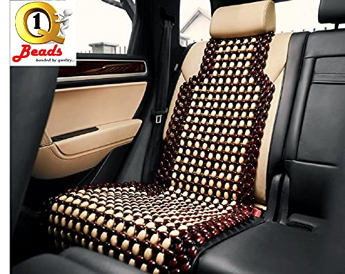 Q1 Beads Wooden Beads Acupressure Mat Car Bead Seat Cover Cushion/Cooling Pad- XL Size For All The Cars/SUVs (Universal Fit) XL - Maroon
