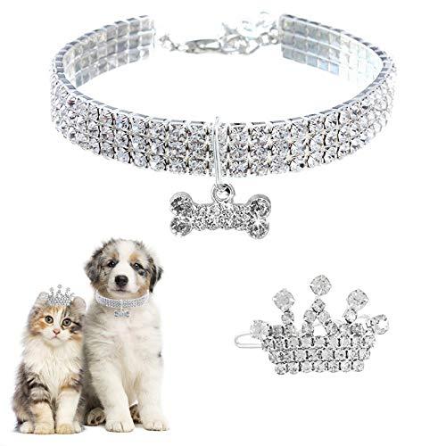 HACRAHO Collar para Mascotas Collar, 1 Pieza Collar de Cristal para Mascotas Y 1 Pieza Pinza para el Pelo con Corona de Diamantes de Imitación para Perro Collar de Boda Puppy Princess para, 11.8'